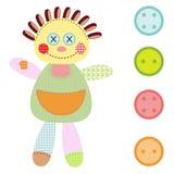 女孩ragdoll和四个按钮 库存照片