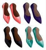 女孩s穿上鞋子传染媒介例证 免版税库存照片