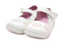 女孩s鞋子白色 库存照片