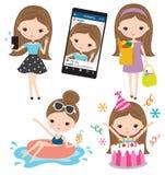 女孩Selfie买菜水池生日生活方式集合 免版税库存图片