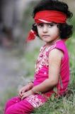女孩supportng伊姆兰可汗 免版税库存照片