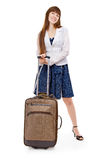 女孩valise 免版税库存照片