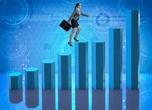 女实业家上升的事业梯子当贸易商经纪 库存照片
