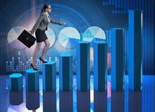 女实业家上升的事业梯子当贸易商经纪 免版税库存照片