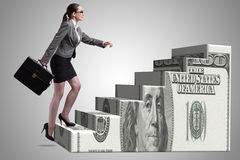 女实业家上升的美元梯子概念 免版税库存图片