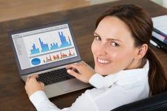 女实业家与在膝上型计算机的图表一起使用 库存图片