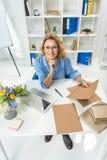 女实业家与文件和膝上型计算机一起使用 库存照片