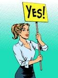 女实业家与是海报的政策抗议 免版税库存图片