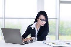 女实业家与膝上型计算机一起使用 库存图片