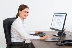 女实业家与计算机一起使用在书桌 图库摄影
