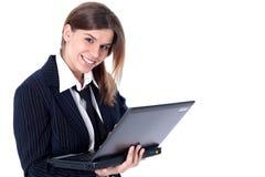 女实业家个人计算机 图库摄影