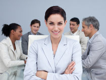 女实业家会议微笑 免版税库存图片