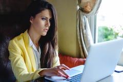 女实业家使用膝上型计算机 库存照片
