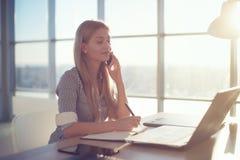 年轻女实业家侧视图画象有企业电话在办公室,她的工作场所,写下一些信息 图库摄影