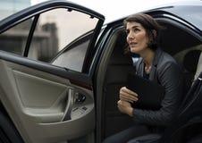 女实业家公司出租汽车运输业务概念 免版税库存图片