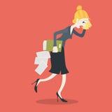 女实业家冒汗的疲倦的抹与手帕 向量例证