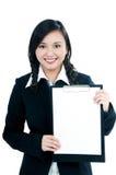 女实业家剪贴板愉快的藏品年轻人 免版税库存图片