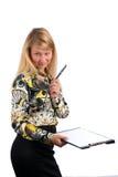 女实业家剪贴板藏品 免版税库存图片