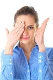女实业家包括她的一只眼睛,查出 免版税库存照片