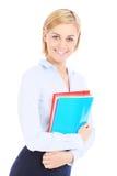 女实业家和文件 免版税库存图片