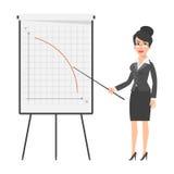 女实业家和落的图表 向量例证