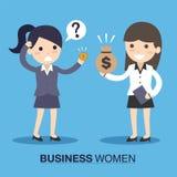 女实业家和雇员有金钱的 库存图片