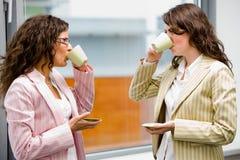女实业家咖啡喝 库存照片