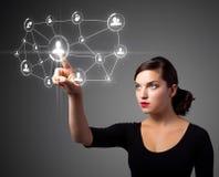 女实业家图标现代按的社会类型 库存照片