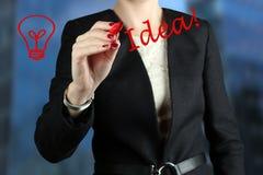 女实业家图画由一支红色笔的词想法 免版税库存图片