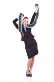 女实业家圣诞节跳舞 免版税库存图片