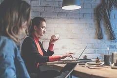 年轻女实业家在咖啡馆在键入木的桌上坐膝上型计算机和饮用的咖啡 在背景白色砖墙 免版税库存图片
