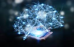 女实业家在她的手3D r上的拿着数字式X-射线人脑 免版税图库摄影