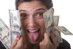 女实业家她的货币陈列 图库摄影