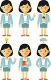 女实业家字符集用不同的姿势 免版税库存图片