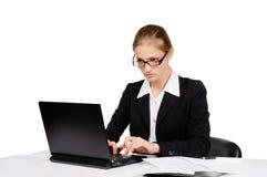 女实业家工作 免版税图库摄影