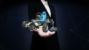 女实业家开放棕榈,混合动力车辆,电子,氢,锂离子电池回声汽车 环境友好的未来汽车 影视素材