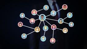 女实业家开放棕榈,连接的人民,企业网络 社会媒体服务 全球的通信 向量例证