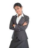黑女实业家微笑 免版税库存图片