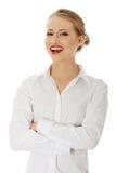 女实业家愉快的年轻人 免版税库存图片