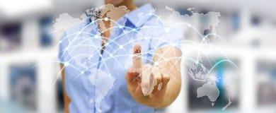 女实业家感人的全球网络和数据交换'3D r 库存照片