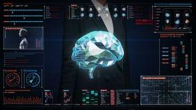 女实业家感人的数字式屏幕,低多角形脑子连接在数字显示仪表板的数字线路 库存例证
