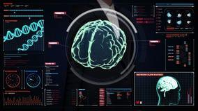 女实业家感人的数字式屏幕,在数字显示仪表板的扫描的脑子 X-射线视图 向量例证