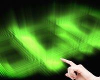 女实业家感人的无形的屏幕 免版税库存图片