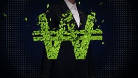 女实业家感人的绿色叶子赢取了金钱,货币符,做由叶子 股票录像