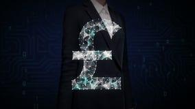 女实业家接触了屏幕,许多小点会集创造磅货币符,低多角形网 影视素材
