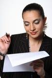 女实业家文件工作 免版税库存照片