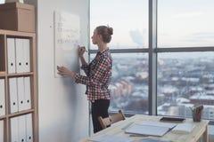 女实业家文字在白色磁铁板,现代办公室的天计划 白种人女性雇员计划侧视图  免版税库存图片