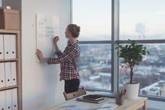 女实业家文字在白色磁铁板,现代办公室的天计划 白种人女性雇员计划侧视图  库存图片