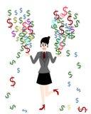 女实业家是挣金钱,传染媒介动画片概念 库存图片
