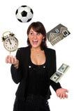 女实业家玩杂耍的责任 免版税库存照片